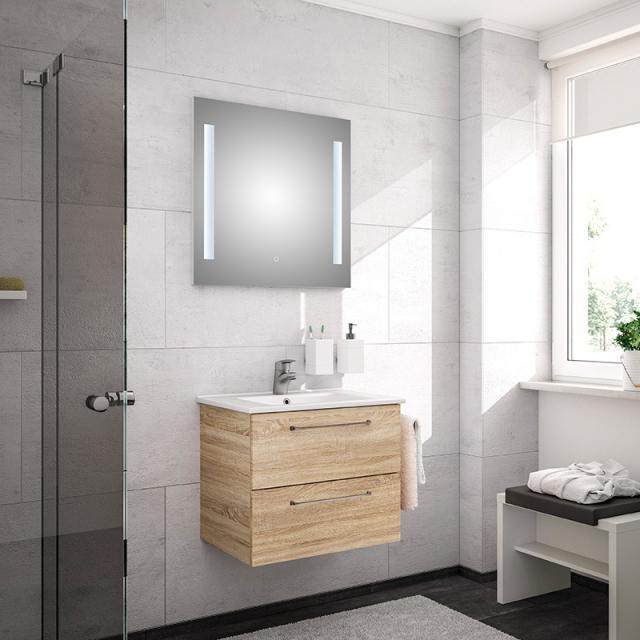 Artiqua 890 Block Waschtisch mit Waschtischunterschrank und LED-Spiegel Front: castello eiche/verspiegelt, Korpus: castello eiche