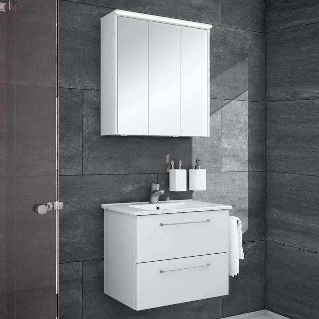 Artiqua 890 Block Waschtisch mit Waschtischunterschrank und LED-Spiegelschrank Front: weiß glanz/verspiegelt, Korpus: weiß glanz