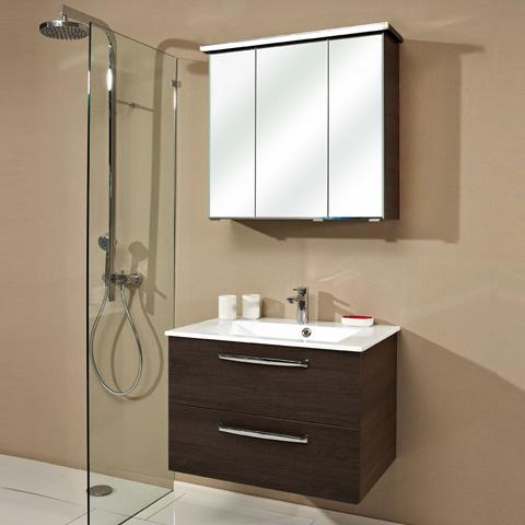 artiqua 822 mineralmarmor waschtisch mit wt unterschrank und spiegelschrank mit led profil front. Black Bedroom Furniture Sets. Home Design Ideas