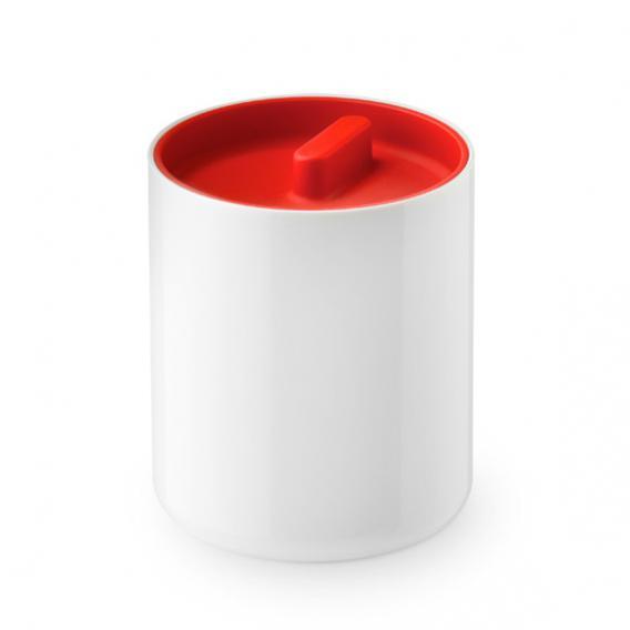 AUTHENTICS LUNAR Dose mit Deckel weiß hochglanz/rot matt