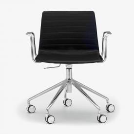 Andreu World Flex High Back Stuhl mit Armlehnen, Echtleder