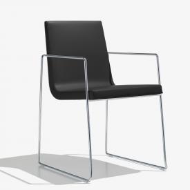 Andreu World Lineal Comfort Stuhl mit Armlehnen, Echtleder