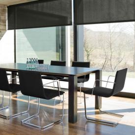 Andreu World Lineal Corporate Freischwinger mit Armlehnen, Echtleder