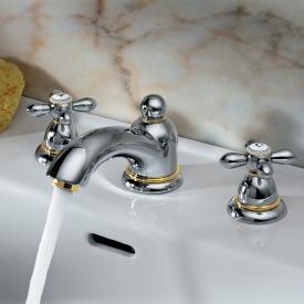 AXOR Carlton 3-Loch Waschtischarmatur 50, mit Kreuzgriffen mit Ablaufgarnitur, chrom/gold optik
