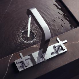 AXOR Citterio 3-Loch Waschtischarmatur 170 mit Platte und Kreuzgriffen mit Ablaufgarnitur