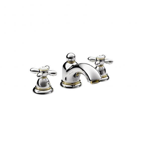 AXOR Carlton 3-Loch Waschtischarmatur 50, mit Kreuzgriffen mit Ablaufgarnitur, chrom/gold