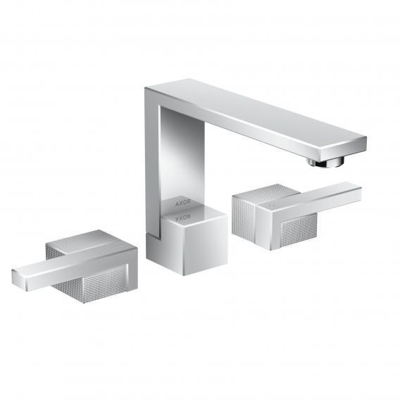 AXOR Edge 3-Loch-Waschtischarmatur 130 mit Diamantschliff mit Ablaufgarnitur