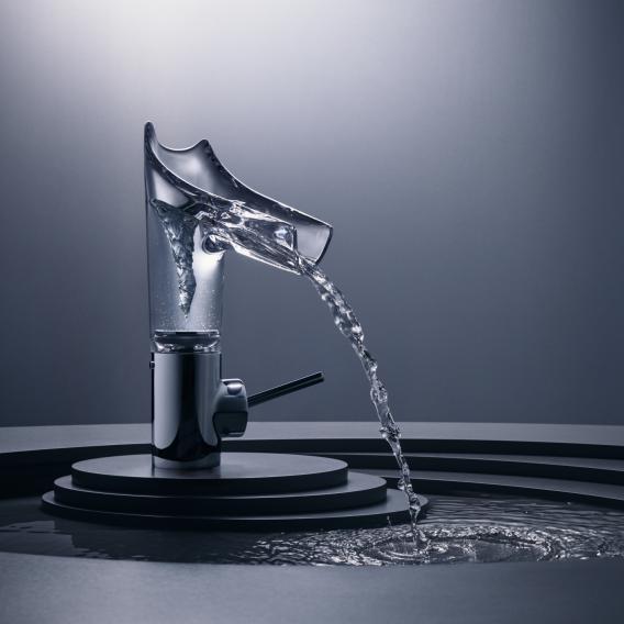 AXOR Starck V Einhebel-Waschtischmischer 140 mit Glasauslauf chrom/klar, mit Ablaufgarnitur