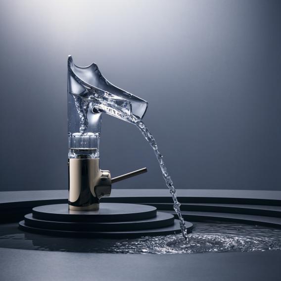 AXOR Starck V Einhebel-Waschtischmischer 140 mit Glasauslauf mit Facettenschliff mit Ablaufgarnitur
