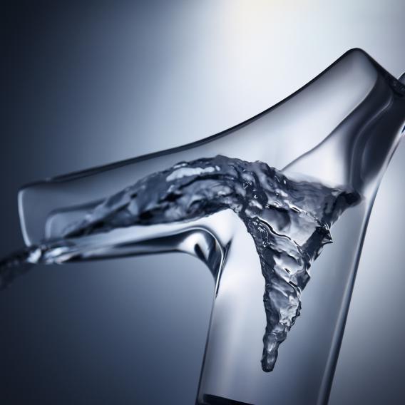 AXOR Starck V Einhebel-Waschtischmischer 140 mit Glasauslauf weiß/klar, mit Ablaufgarnitur