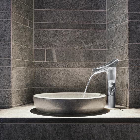 AXOR Starck V Einhebel-Waschtischmischer 220 mit Glasauslauf, für Waschschüsseln mit Ablaufgarnitur