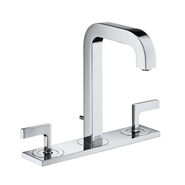 AXOR Citterio 3-Loch Waschtischarmatur 170 mit Platte und Hebelgriffen mit Ablaufgarnitur