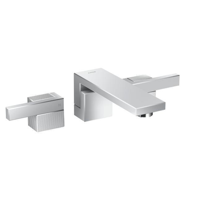 AXOR Edge 3-Loch-Waschtischarmatur mit Diamantschliff für Wandmontage, Ausladung: 190 mm