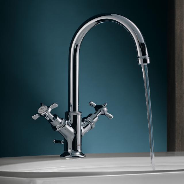 AXOR Montreux 2-Griff-Waschtischarmatur 160, für Handwaschbecken mit Ablaufgarnitur, chrom