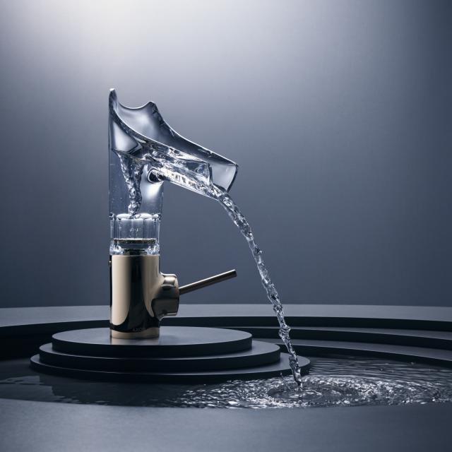 AXOR Starck V Einhebel-Waschtischmischer 140 mit Glasauslauf mit Facettenschliff mit Ablaufgarnitur, gold