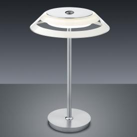 BANKAMP CALLAS LED Tischleuchte mit Dimmer Ø 22 H: 38 cm, nickel matt/chrom/weiß/klar