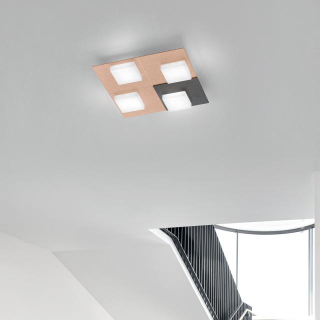 BANKAMP CUBE LED Deckenleuchte / Wandleuchte 4-flammig mit Dimmer, quadratisch