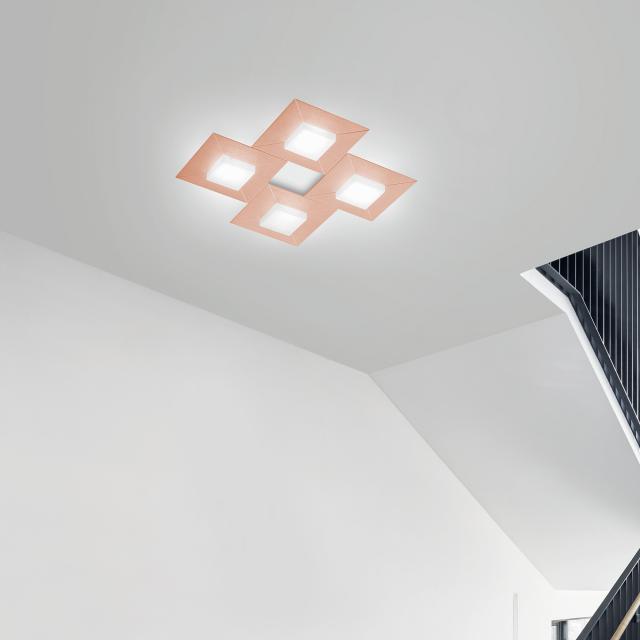 BANKAMP DIAMOND LED Deckenleuchte / Wandleuchte 4-flammig mit Dimmer, quadratisch