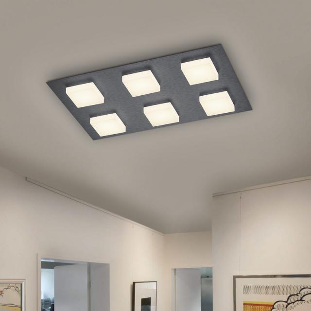 BANKAMP LUNO LED Deckenleuchte mit Dimmer, 6-flammig