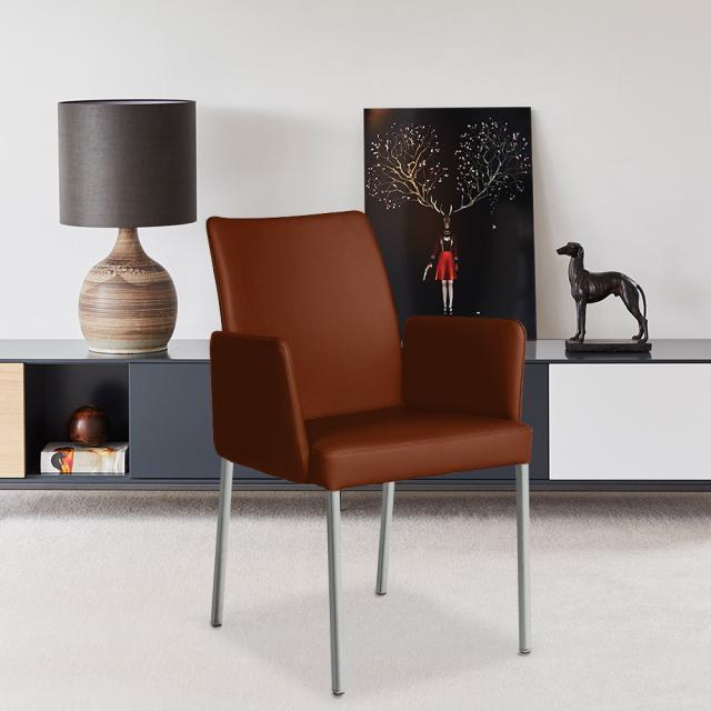 bert plantagie Ultimo Low Stuhl mit Armlehnen, Fuß eckig