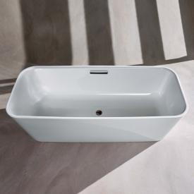 Bette Art Freistehende Oval-Badewanne Wanne weiß, Ablaufgarnitur chrom