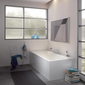 Bette Lux Silhouette Side Rechteck-Badewanne mit Verkleidung Wanne weiß, Ablaufgarnitur weiß