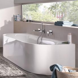 Bette Lux Oval I Silhouette Vorwand-Badewanne Wanne weiß, Ablaufgarnitur chrom