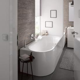 Bette Lux Oval V Silhouette Eck-Badewanne, Ecke rechts Wanne weiß, mit BetteGlasur Plus, Ablaufgarnitur chrom, mit Wassereinlauf