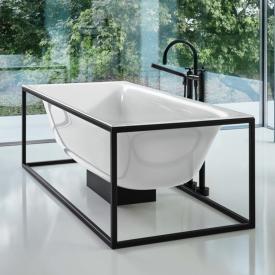 Bette Lux Shape Sonderform Badewanne mit Sensory Ablaufgarnitur inkl. Rahmengestell Wanne weiß, Gestell schwarz, Ablaufgarnitur weiß, mit BetteGlasur Plus