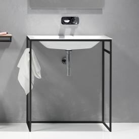 Bette Lux Shape Waschtisch mit Rahmengestell weiß/schwarz matt, mit BetteGlasur Plus