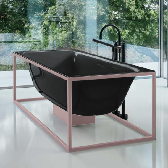 Bette Lux Shape Sonderform Badewanne mit Sensory Ablaufgarnitur inkl. Rahmengestell Wanne schwarz, Gestell rose, Ablaufgarnitur chrom, mit BetteGlasur Plus