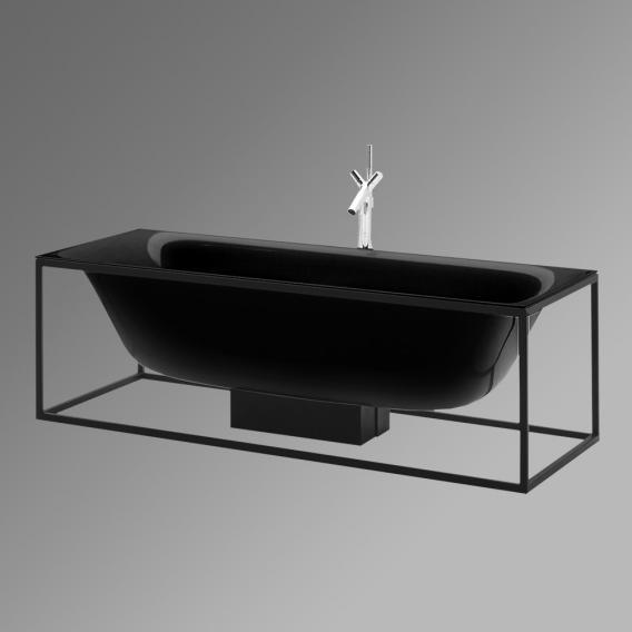 Bette Lux Shape Sonderform Badewanne mit Sensory Ablaufgarnitur inkl. Rahmengestell Wanne schwarz, Gestell schwarz, Ablaufgarnitur chrom