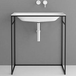 Bette Lux Shape Waschtisch mit Rahmengestell weiß BetteGlasur/schwarz matt