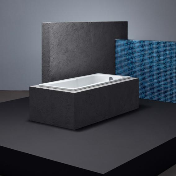 Bette Set Rechteck-Badewanne mit Duschzone, Einbau weiß, mit BetteAntirutsch gesamte Bodenfläche, mit BetteGlasur Plus, für Griffmontage