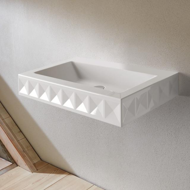 Bette Loft Ornament Wand-Waschtisch, 1-reihig weiß, ohne Hahnloch