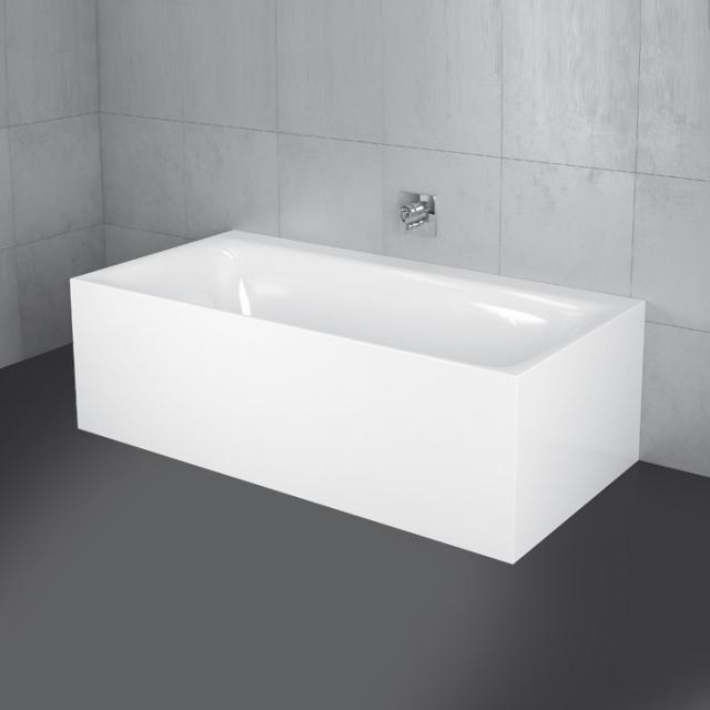 Bette Lux I Silhouette Side Vorwand-Badewanne mit Verkleidung Wanne weiß, mit BetteGlasur Plus, Ablaufgarnitur weiß, mit Wassereinlauf