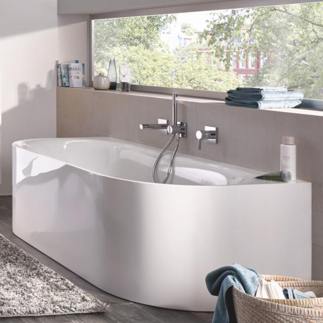 Bette Lux Oval I Silhouette Vorwand-Badewanne mit Verkleidung Wanne weiß, mit BetteGlasur Plus, Ablaufgarnitur chrom, mit Wassereinlauf
