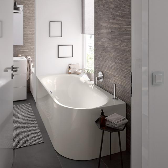 Bette Lux Oval Silhouette Eck-Badewanne mit Verkleidung Wanne pergamon, mit BetteGlasur Plus, Ablaufgarnitur chrom