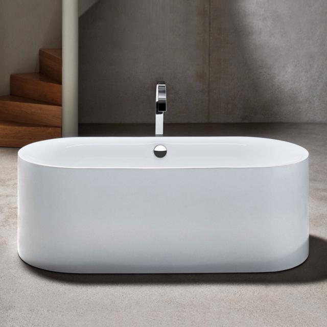 Bette Lux Oval Silhouette Freistehende Badewanne Wanne weiß, Ablaufgarnitur chrom