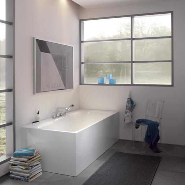 Bette Lux Silhouette Side Rechteck-Badewanne mit Verkleidung Wanne weiß, Ablaufgarnitur chrom