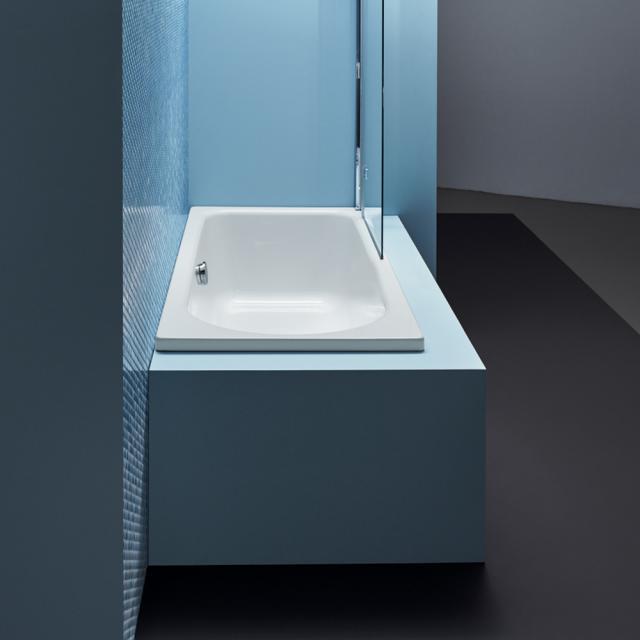 Bette Ocean Low-Line Rechteck-Badewanne, Überlauf hinten weiß, mit BetteGlasur Plus