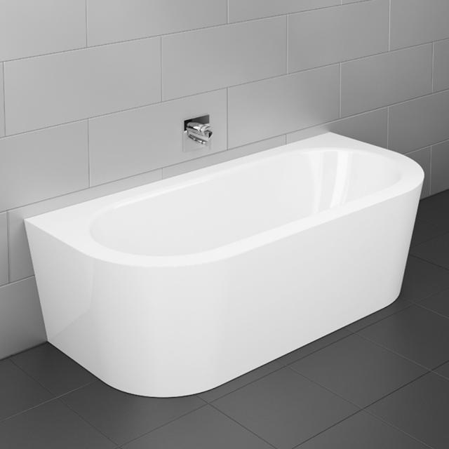 Bette Starlet I Silhouette Vorwand-Badewanne mit Verkleidung Wanne weiß, mit BetteGlasur Plus, Ablaufgarnitur weiß