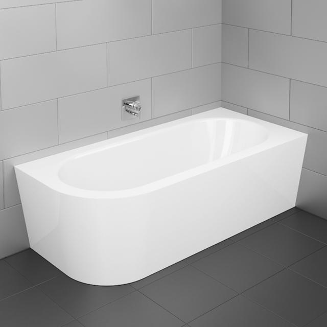 Bette Starlet Silhouette Eck-Badewanne mit Verkleidung Wanne weiß, mit BetteGlasur Plus, Ablaufgarnitur chrom, mit Wassereinlauf