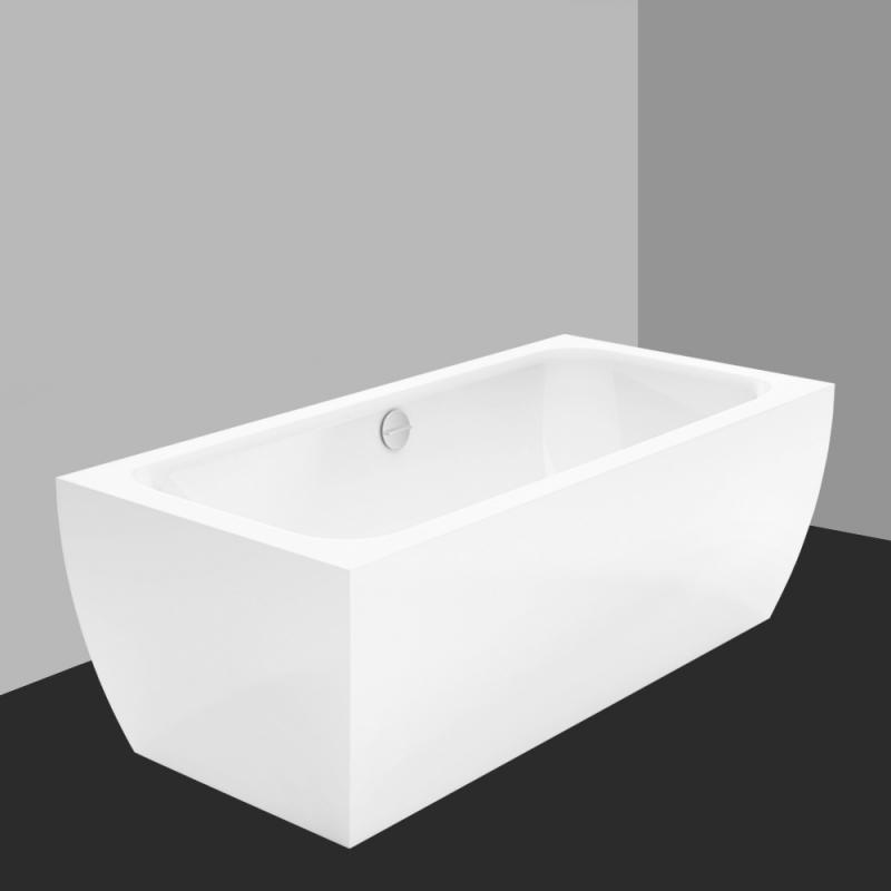 Bette Cubo Silhouette freistehende Badewanne weiß mit Multiplex M5 ... | {Badewanne mit duschzone eckig 78}