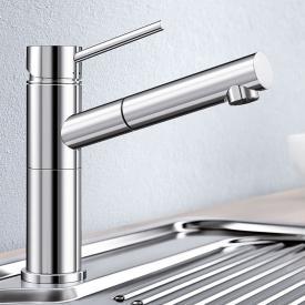 Blanco Alta-S Compact Einhebelmischer, Auslauf ausziehbar, für Niederdruck chrom