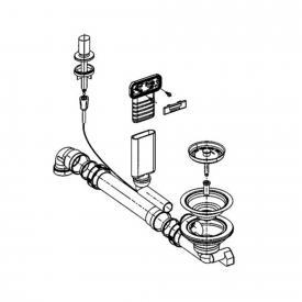 Blanco Andano Ab- und Überlaufgarnitur mit Zug Ablauffernbedienung und C-overflow® für Edelstahl-Spüle Andano