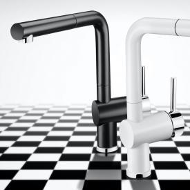 Blanco Linus-S Black & White Edition Einhebel-Küchenarmatur mit Auszugsauslauf schwarz matt/chrom