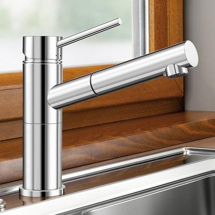Blanco Alta-S-F Compact Einhebelmischer, mit Ausziehbrause, für Vorfenstermontage