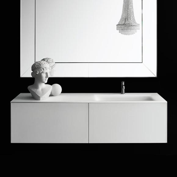 Boffi Soho Waschtischplatte mit seitlichem Becken weiß