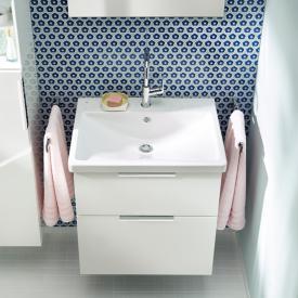 Burgbad Eqio Waschtisch mit Waschtischunterschrank mit 2 Auszügen Front weiß hochglanz/Korpus weiß glänzend/WT weiß